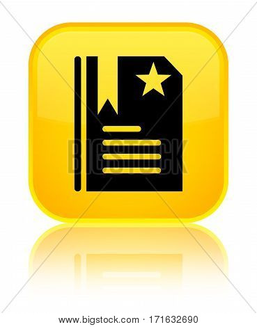 Bookmark Icon Shiny Yellow Square Button