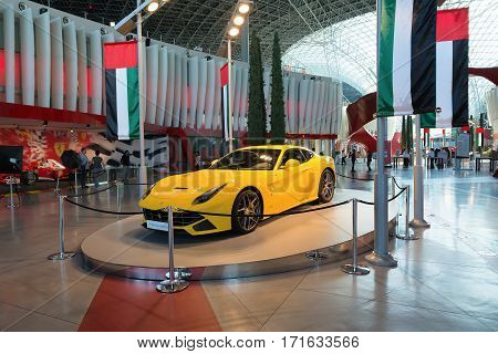 ABU DHABI, UNITED ARAB EMIRATES - DECEMBER 5, 2016: Ferrari World at Yas Island in Abu Dhabi. Ferrari World is the largest indoor amusement park in the world.