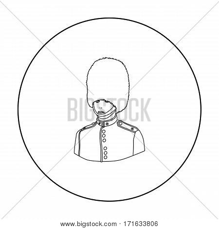 Queen's guard icon in outline style isolated on white background. England country symbol vector illustration.