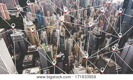 Aerial photo of a business district in China with many tall skyscrapers. Hong Kong office buildings with infographics design. Wireless cityscape map internet and networking connection concept