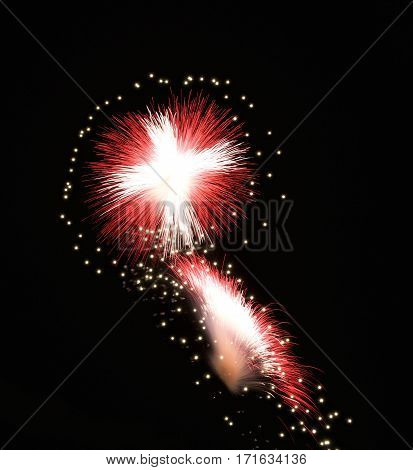 Fireworks with maltese flag colors, fireworks, festival in Malta, maltese cross explode, fireworks festival in Malta