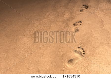 footstep in the sand at the beach.