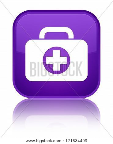First Aid Kit Bag Icon Shiny Purple Square Button