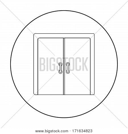 Open store icon in outline style isolated on white background. E-commerce symbol stock vector illustration.