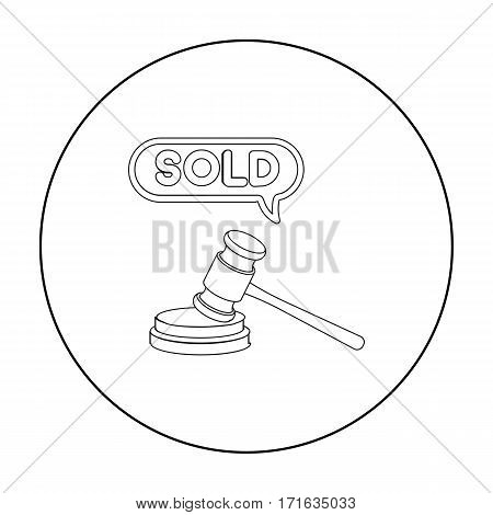 Auction hammer icon in outline style isolated on white background. E-commerce symbol vector illustration.