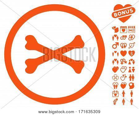 Bones Cross pictograph with bonus love symbols. Vector illustration style is flat iconic orange symbols on white background.