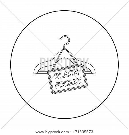 Black friday sale icon in outline style isolated on white background. E-commerce symbol vector illustration.