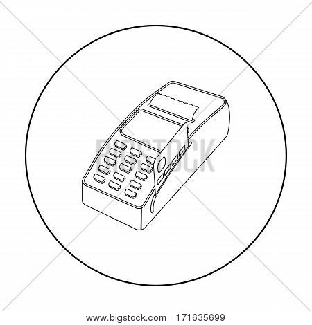 POS terminal icon in outline style isolated on white background. E-commerce symbol vector illustration.