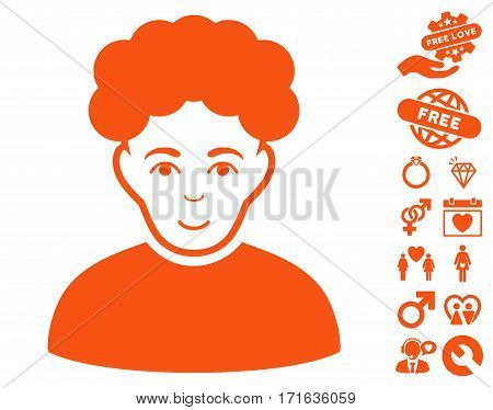 Brunet Man pictograph with bonus decorative images. Vector illustration style is flat iconic orange symbols on white background.