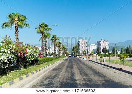 Kumluca, Turkey - June 20.2014. General view of the city in the summer at the height of tourist season