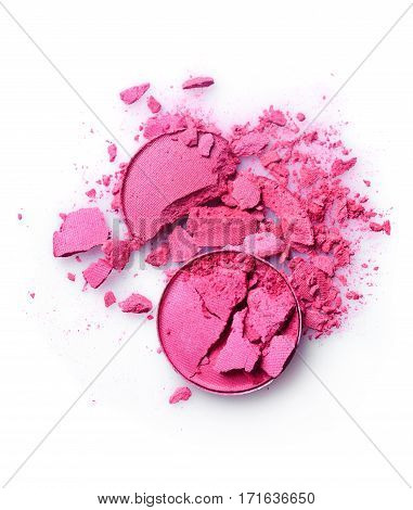 Round Pink Crushed Eyeshadow For Makeup As Sample Of Cosmetic Product