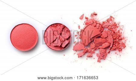 Round Orange Crashed Eyeshadow For Makeup As Sample Of Cosmetic Product
