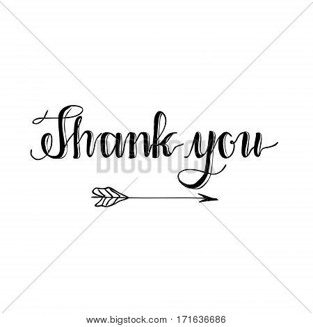 Thank you hand written words calligraphy lettering