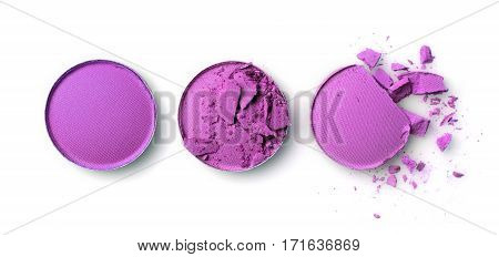 Round Purple Crashed Eyeshadow For Makeup As Sample Of Cosmetic Product