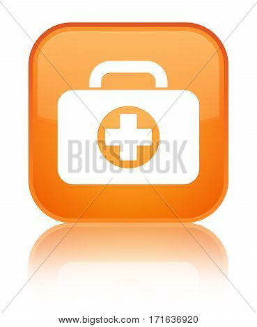First Aid Kit Bag Icon Shiny Orange Square Button
