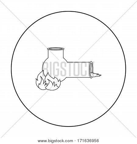 Hashish pipe icon in outline style isolated on white background. Drugs symbol vector illustration.