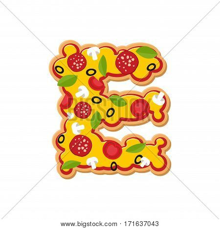 Letter E Pizza Font. Italian Meal Alphabet. Lettring Fast Food