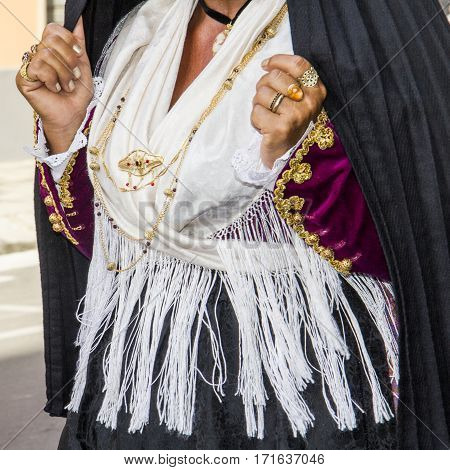 SELARGIUS, ITALY - September 8, 2013: Former marriage Selargino - Sardinia - Sardinian traditional costumes of Sant'Antioco folk group