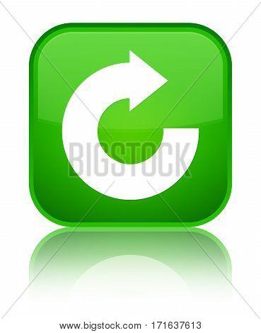 Reply Arrow Icon Shiny Green Square Button