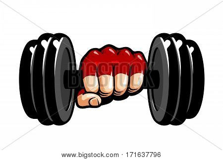 Heavy dumbbell in hand, cartoon. Gym, bodybuilding, weightlifting symbol. Sport vector illustration isolated on white background