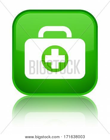 First Aid Kit Bag Icon Shiny Green Square Button