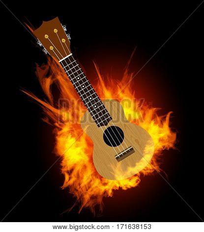 Ukulele - Hawaiian musical instrument. Vector illustration on fire background