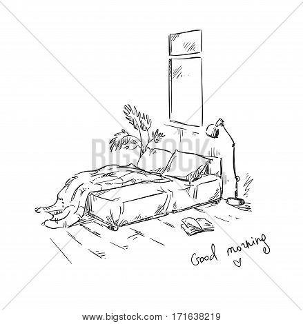 bedroom drawing, interior design. Vector illustration, hand drawn