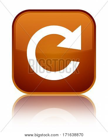 Reply Rotate Icon Shiny Brown Square Button