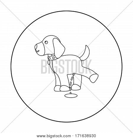 Pissing dog vector illustration icon in outline design