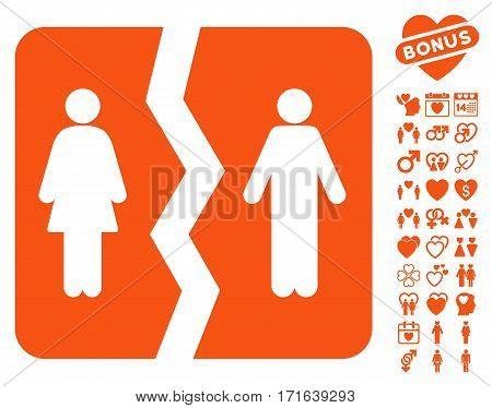 Divorce pictograph with bonus decoration pictograph collection. Vector illustration style is flat iconic orange symbols on white background.