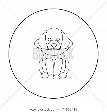 Sick dog vector illustration icon in outline design