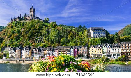 Travel in Germany - river cruises in Rhein river, beautiful medieval Cochem town