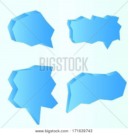 Collection of think and talk speech bubbles in the form of ice on light blue background