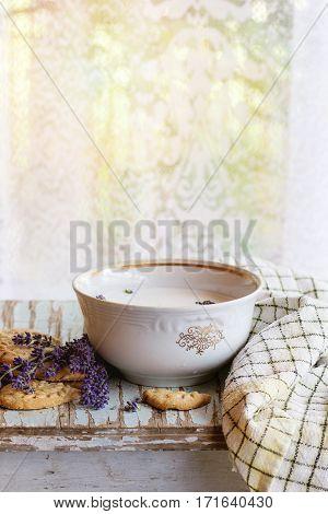 Lavender Cookies With Milk
