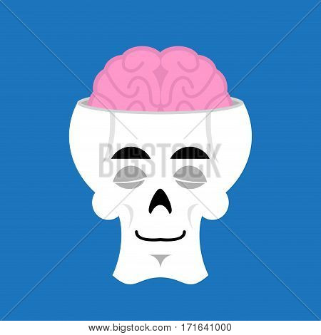 Skull And Brain Sleeps Emoji. Skeleton Head Asleep Emotion Isolated