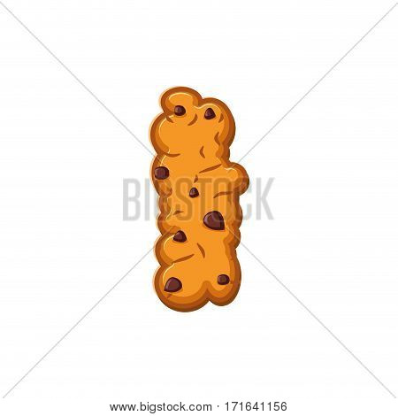 I Letter Cookies. Cookie Font. Oatmeal Biscuit Alphabet Symbol. Food Sign Abc