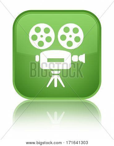 Video Camera Icon Shiny Soft Green Square Button