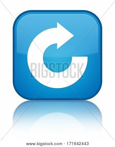 Reply Arrow Icon Shiny Cyan Blue Square Button