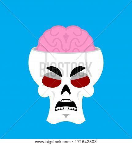 Skull And Brain Angry Emoji. Skeleton Head Grumpy Emotion Isolated