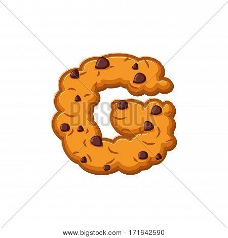 G Letter Cookies. Cookie Font. Oatmeal Biscuit Alphabet Symbol. Food Sign Abc