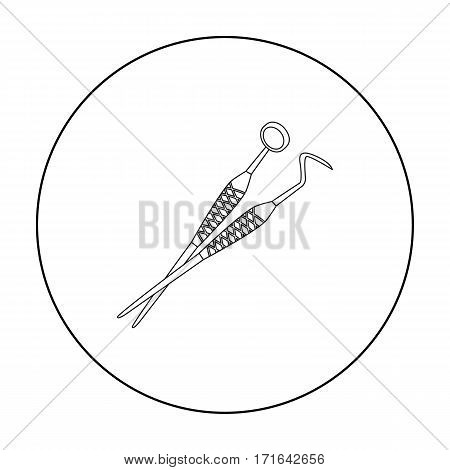 Dental instruments icon in outline style isolated on white background. Dental care symbol vector illustration.