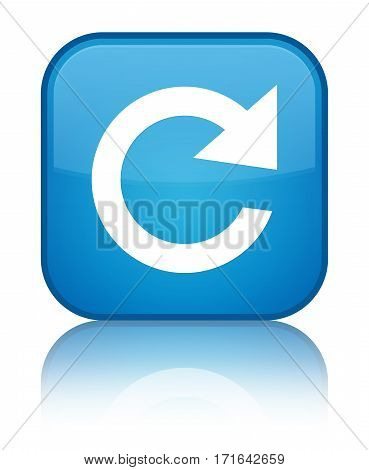 Reply Rotate Icon Shiny Cyan Blue Square Button