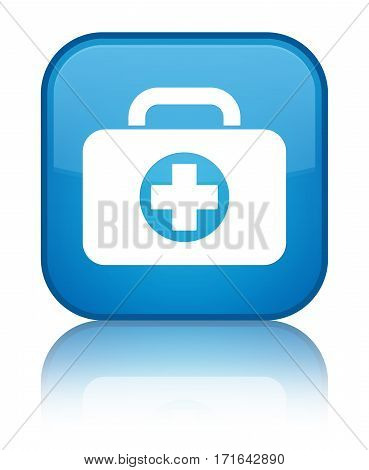 First Aid Kit Bag Icon Shiny Cyan Blue Square Button