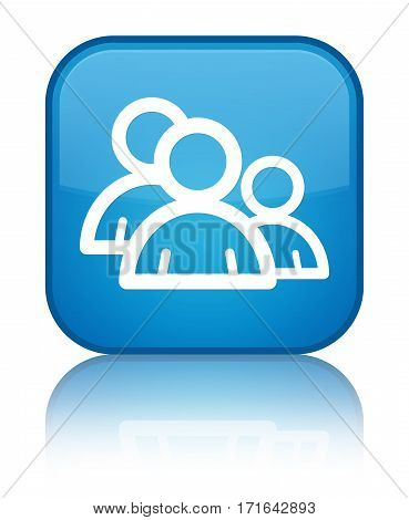 Group Icon Shiny Cyan Blue Square Button