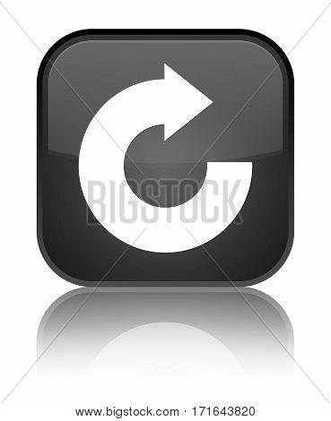 Reply Arrow Icon Shiny Black Square Button