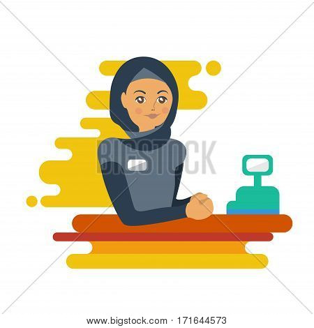 Flat Muslim woman cashier or worker. Colorful illustration