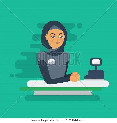Muslim woman cashier or worker. Colorful flat illustration