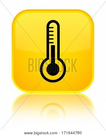 Thermometer Icon Shiny Yellow Square Button