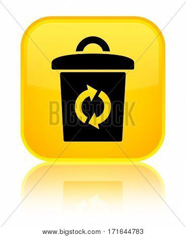 Trash Icon Shiny Yellow Square Button