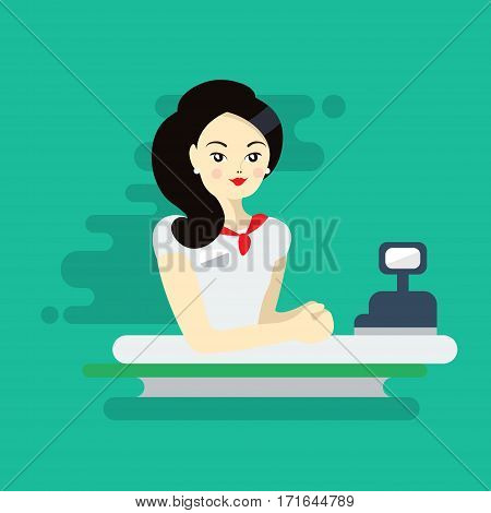 Asian woman cashier or worker. Colorful flat illustration